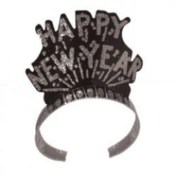 Happy New Year Black & Silver Tiaras