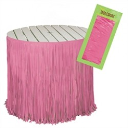 Pink Fringed  Table Skirt