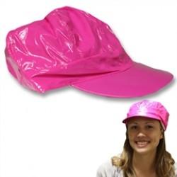 Neon Pink Vinyl Newsboy Hat