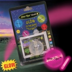 PINK GLOW FLYER GOLFBALL   w/ 1 MINI LIGHTSTICK   (Retail Blister Card)