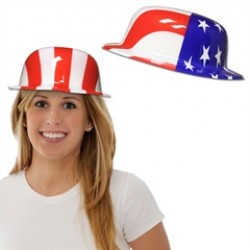 American Flag Plastic Derby Hats