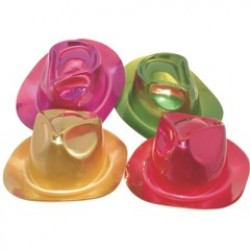 Assorted Color Metallic Fedoras - 12 Pack