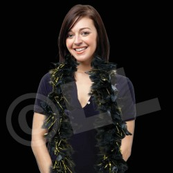 Black with Gold Tinsel Feather Boa