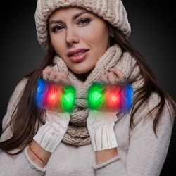 White Fuzzy LED Half Gloves