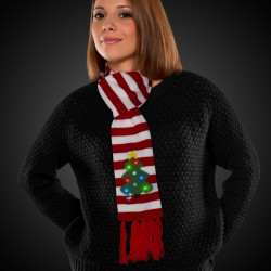 Striped Christmas Tree LED Scarf