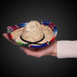 Mini Natural Straw Sombreros - 3pk