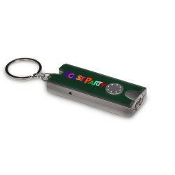 "2 1/2"" Forest Green Rectangle Light Up Key Chain Flashlight"