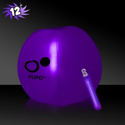 12 Inch Inflatable Beach Balls with 1 - 6 Inch PURPLE Glow Stick