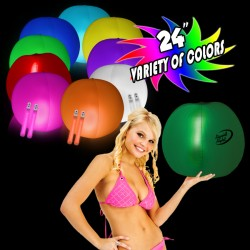 24 Inch Inflatable Beach Ball with 2 - 6 Inch Glow Sticks