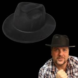 Black Velour Gangster Fedora Hat