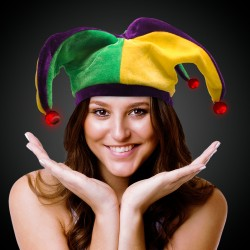 L.E.D. Mardi Gras Velvet Jester Hat