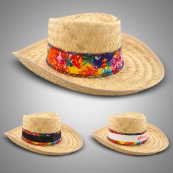 Natural Straw Gambler Hat with Band (Imprintable Bands Available)