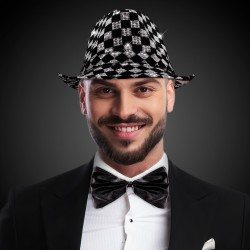 Checkered Sequin LED Fedora (Imprintable Bands Available)