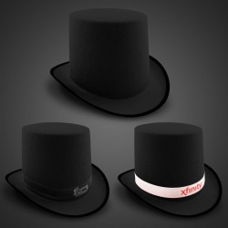 Black Felt Top Hat (Imprintable Bands Available)
