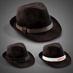 Black Funky Fedora (Imprintable Bands Available)