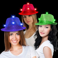 Sequin LED Fedora Hats (Imprintable Bands Available)