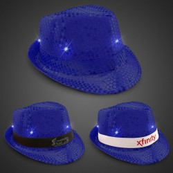 Blue Sequin LED Fedora Hats (Imprintable Bands Available)