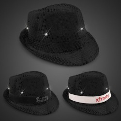 Black Sequin LED Fedora Hats (Imprintable Bands Available)