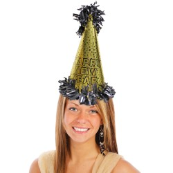 Happy New Year Metallic Gold Cone Hat - 15 Inch