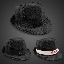 Black Sequin Fedora Hat (Imprinted Bands Available)