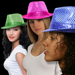 Sequin Fedora Hats - Variety of Colors