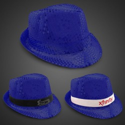 Blue Sequin Fedora Hat (Imprintable Bands Available)