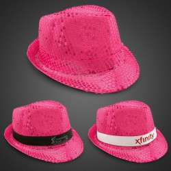 Pink Sequin Fedora Hat (Imprintable Bands Available)