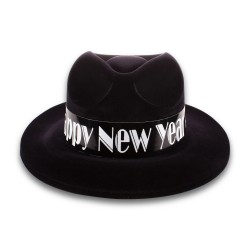 Happy New Year   Black Velour Fedora