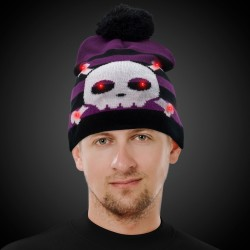 Skull and Crossbones LED Knit Hat