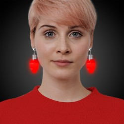Red Bulb LED Clip-On Earrings