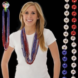 """Red-Silver-Blue 36""""  Mardi Gras Bead Necklace"""