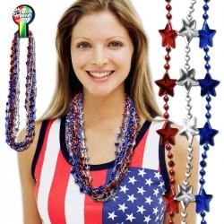 Red, Silver, Blue Star Mardi Gras Beads