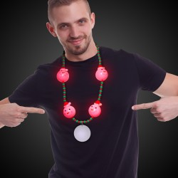 LED Snowman Bead Necklace