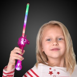 "16"" Pink Light Up Unicorn Wand"