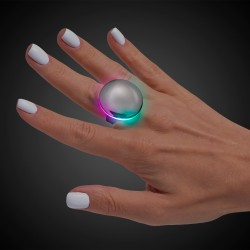 Silver Button LED Laser Ring