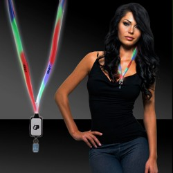 Light Up Multi Color LED Lanyard with Badge Clip
