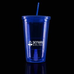 Blue Light Up Travel Cup with Rectangle Insert