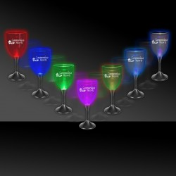 Light Up Wine Glass with Black Stem and Clear Top - 10 Ounce